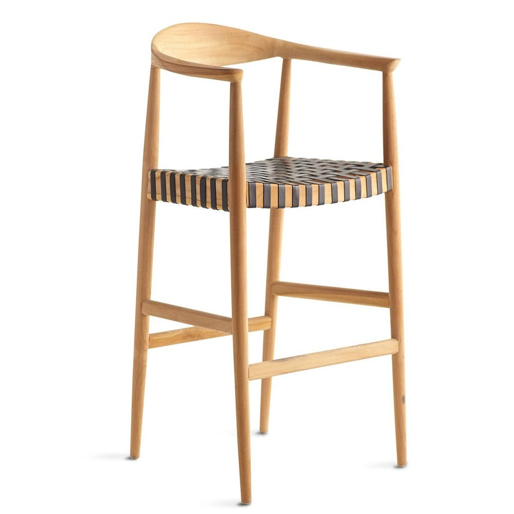 Teak and Woven Leather Bar Stool - Black- NEW  sc 1 st  Pinterest & Teak and Woven Leather Bar Stool - Black | Teak Bar stool and Stools islam-shia.org