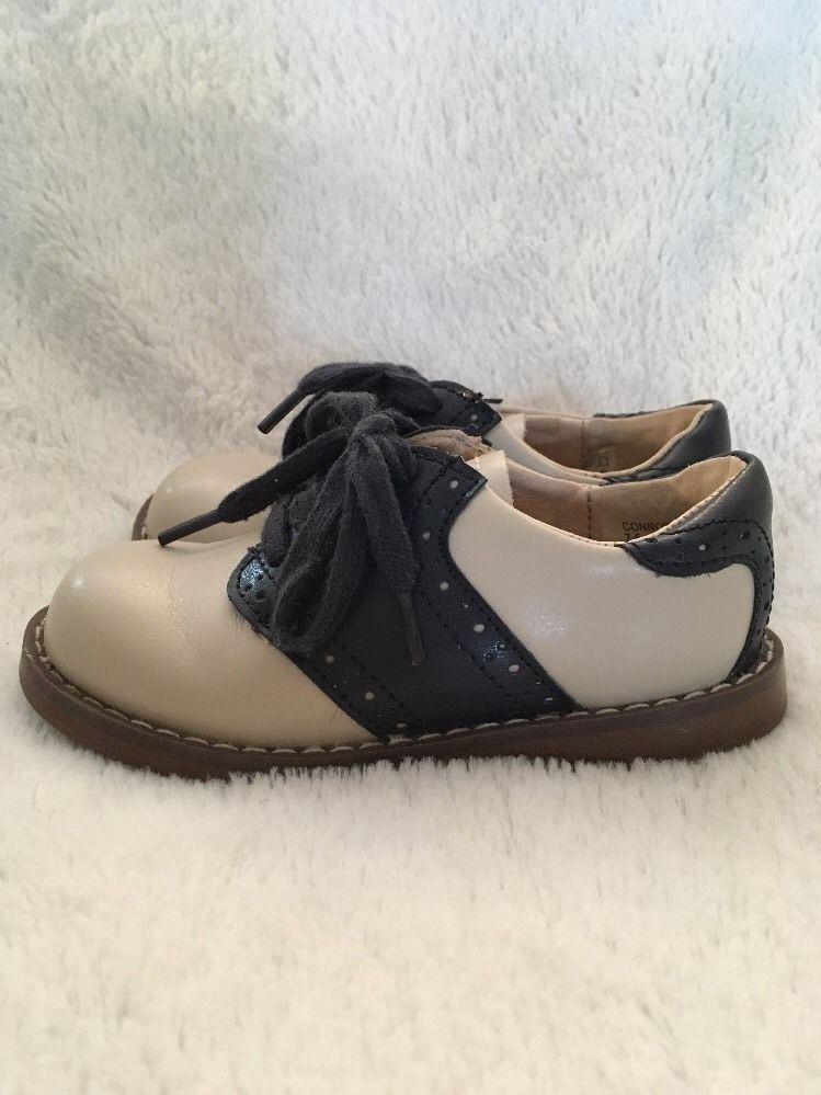 Footmates Toddler Cream/Navy Saddle Zapatos Talla 7.5 Cream/Navy Toddler Med/Wide 126151