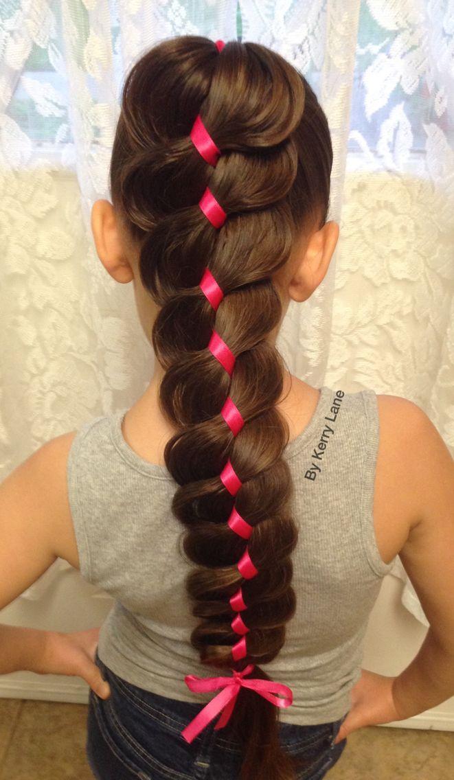 Expanded 4 Strand Ribbon Braid Hair Arrange Ribbon Hairstyle Lil Girl Hairstyles