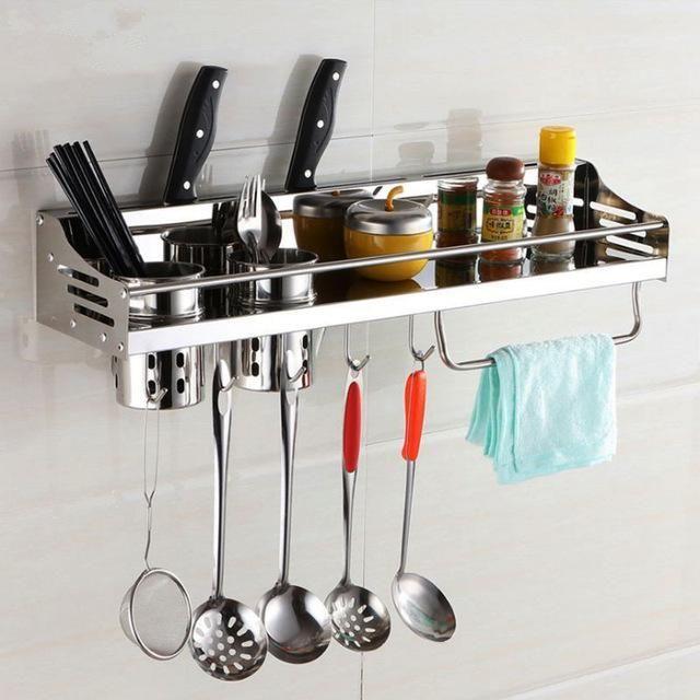 Aluminum Kitchen Shelf Kitchen Rack Cooking Utensil Tools Hook