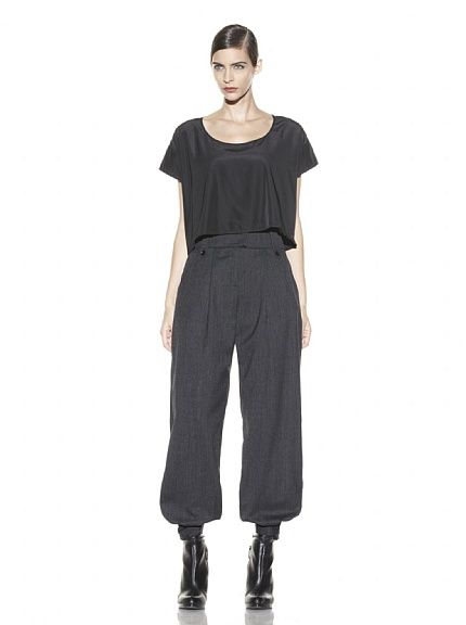 McQ by Alexander    Pleated Cuffed Pant  Pleated front, wide waistband, button belt loops, button cuffs, 2 side slip pockets, back button pocket, zipper fly