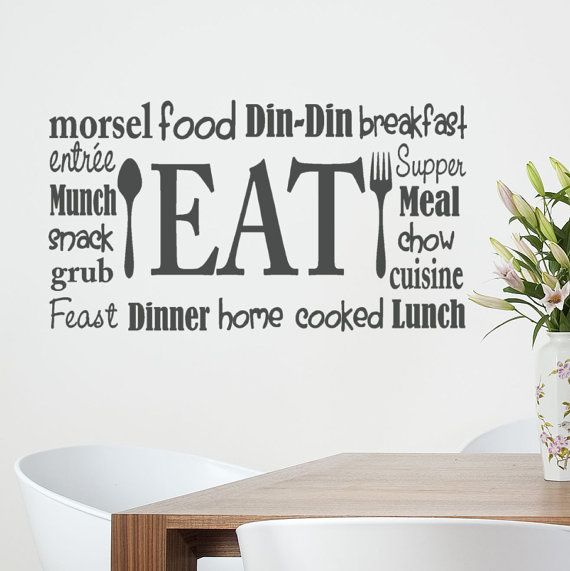 kitchen wall decal eat sign lettering with spoon and fork subway art collage wordle 20x36 vinyl on kitchen decor quotes wall decals id=51667