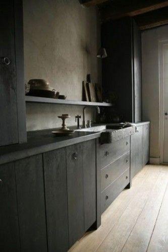 Peinture cuisine  Le gris anthracite une couleur déco tendance - peinture beton cire mur