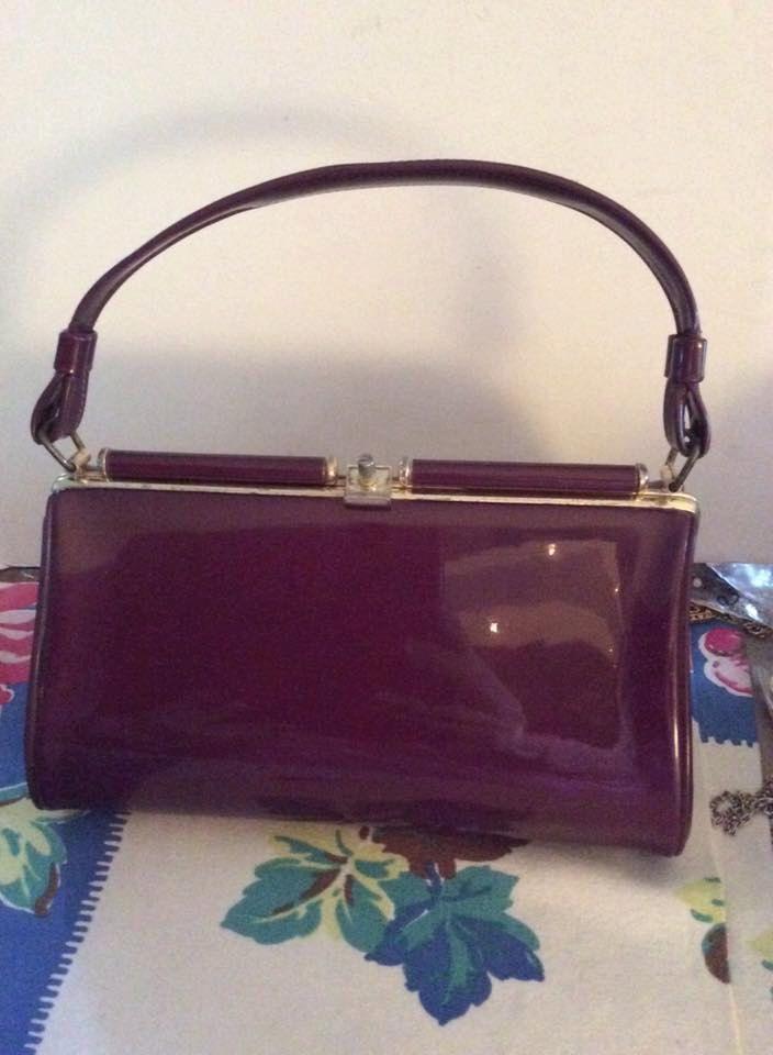 Vintage 1950s 1960s Handbag Purse Dark Purple Patent Vinyl Vintage Bags Purses Handbag