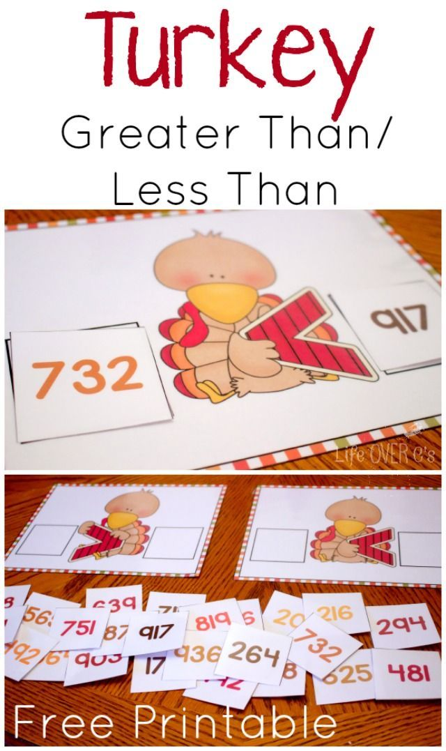 Turkey Greater Than/Less Than Free Printable for Hundreds | Free ...