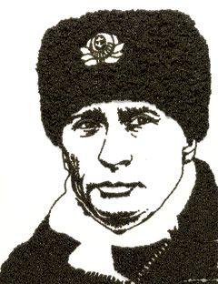 """Vladimir Putin By Vik Muniz, Beluga Caviar, 71"""" x 48"""". Commissioned for Esquire, June 2008."""