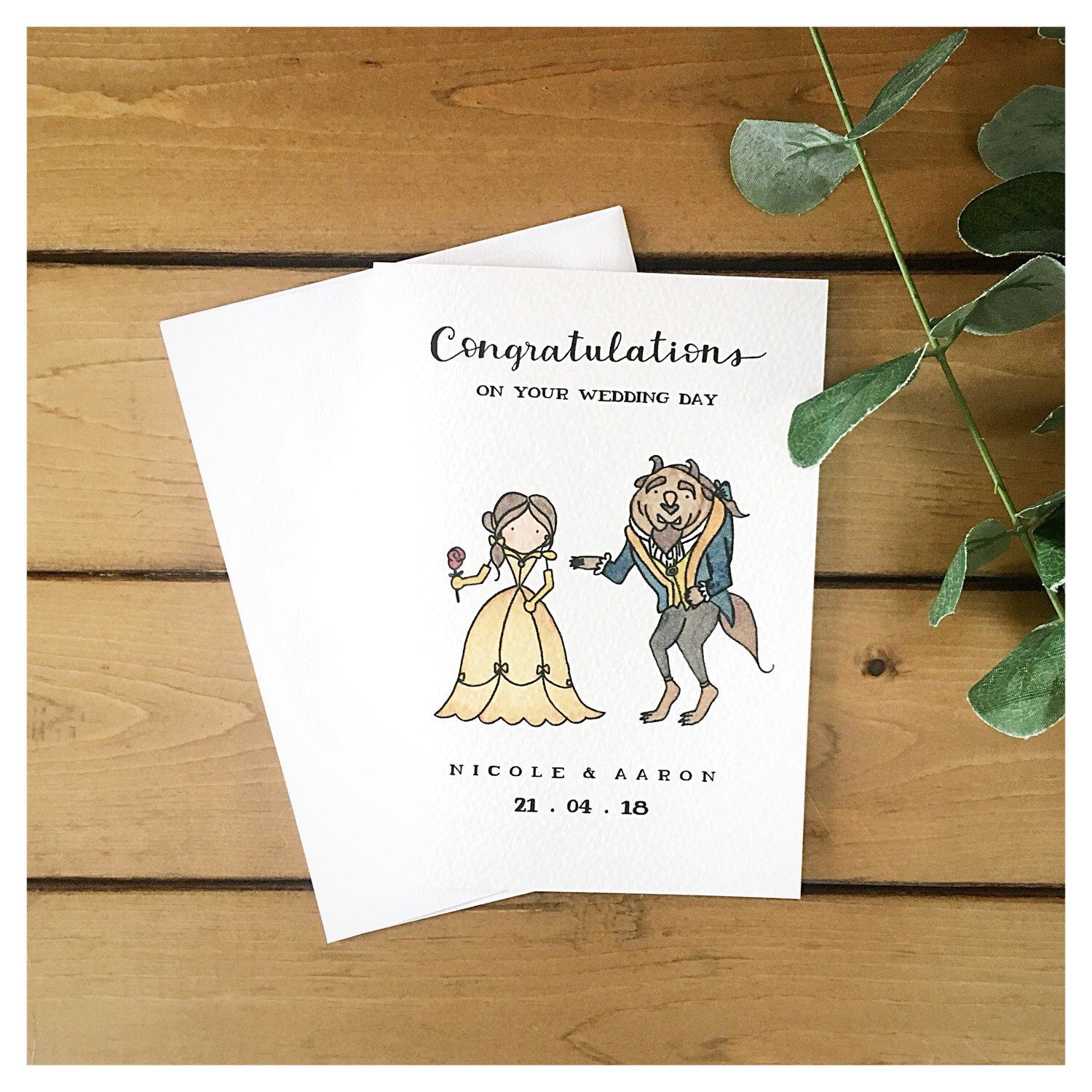 Beauty And The Beast Themed Custom Wedding Anniversary Card Custom Wedding Cards Birthday Cards For Mum Diy Birthday Gifts For Dad