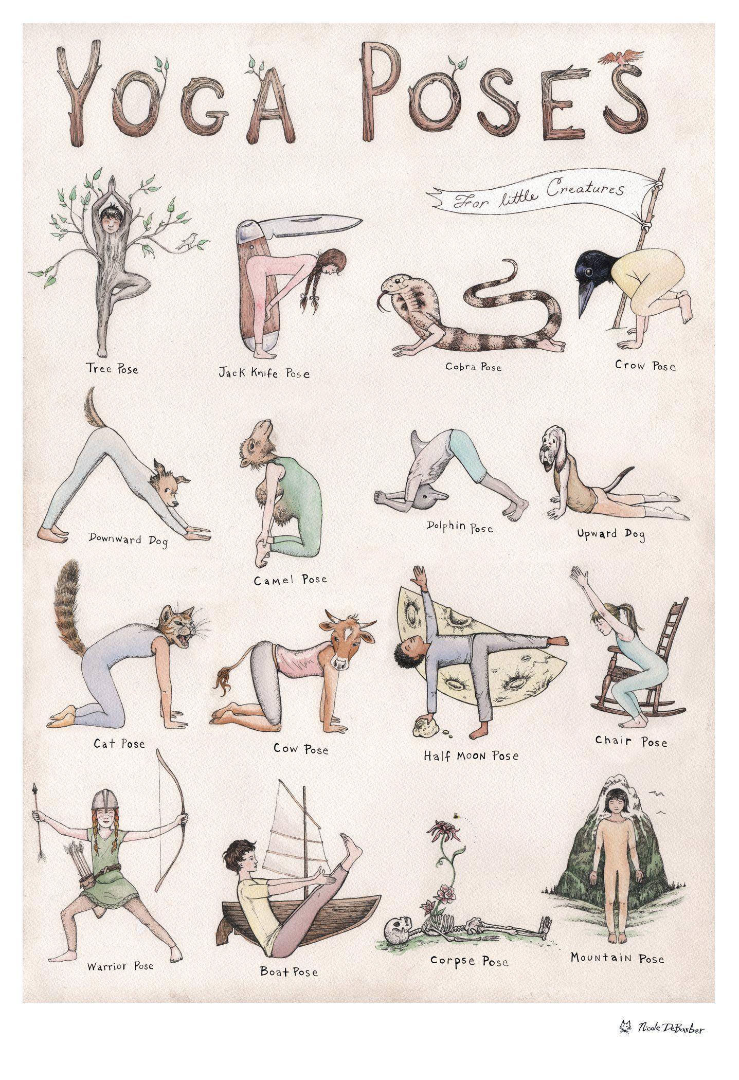 Dieses detaillierte handillustrierte YogaPoster zeigt