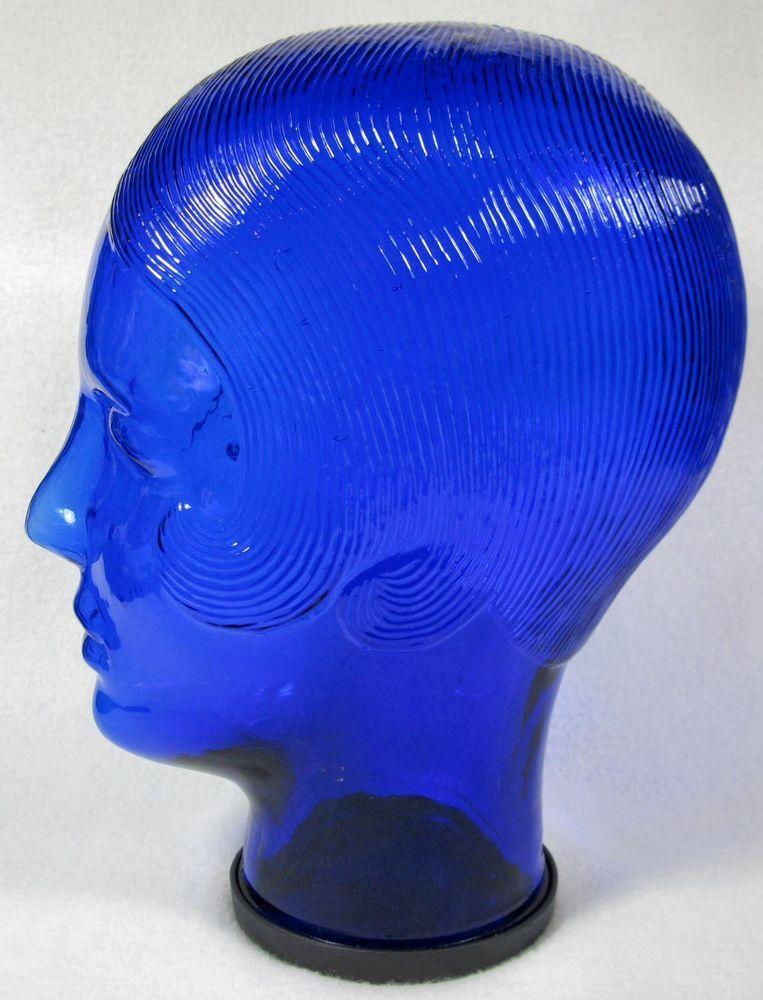 Cobalt Blue Glass Mannequin Display Head Art Deco Women Hat Wig Model Stand dcb5c97f90