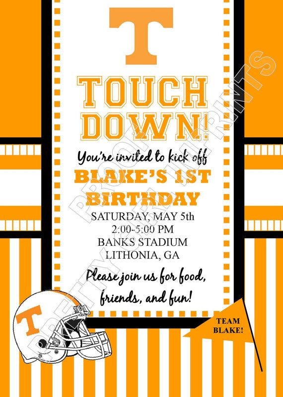 Tennessee Volunteers Football Birthday Party InvitationInvite ONLY