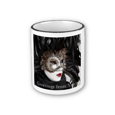 Black Feathers Carnival of Venice Mug by SimonaMereuArt $16.90