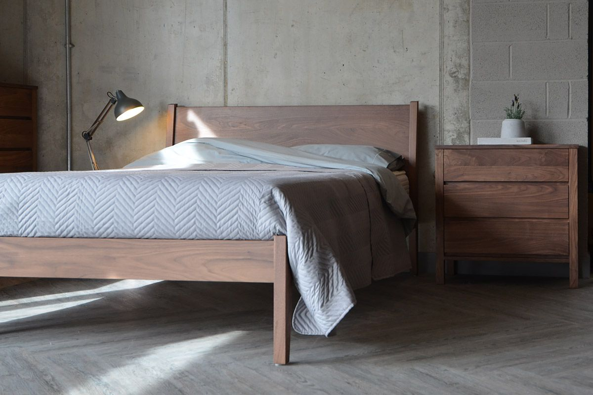 Solid walnut bedroom furniture from Natural Bed Company