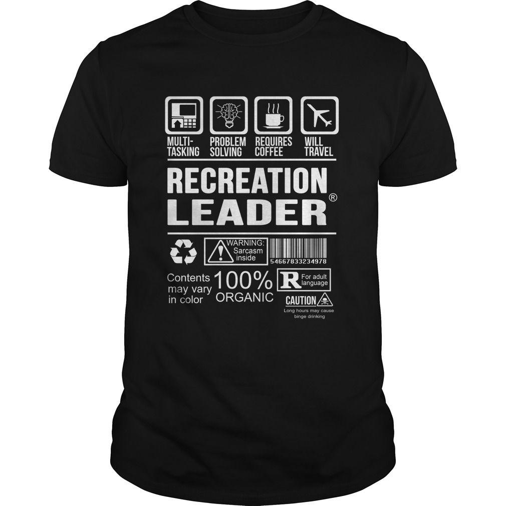 RECREATION LEADER T-Shirts, Hoodies. CHECK PRICE ==► https://www.sunfrog.com/LifeStyle/RECREATION-LEADER-125376234-Black-Guys.html?id=41382
