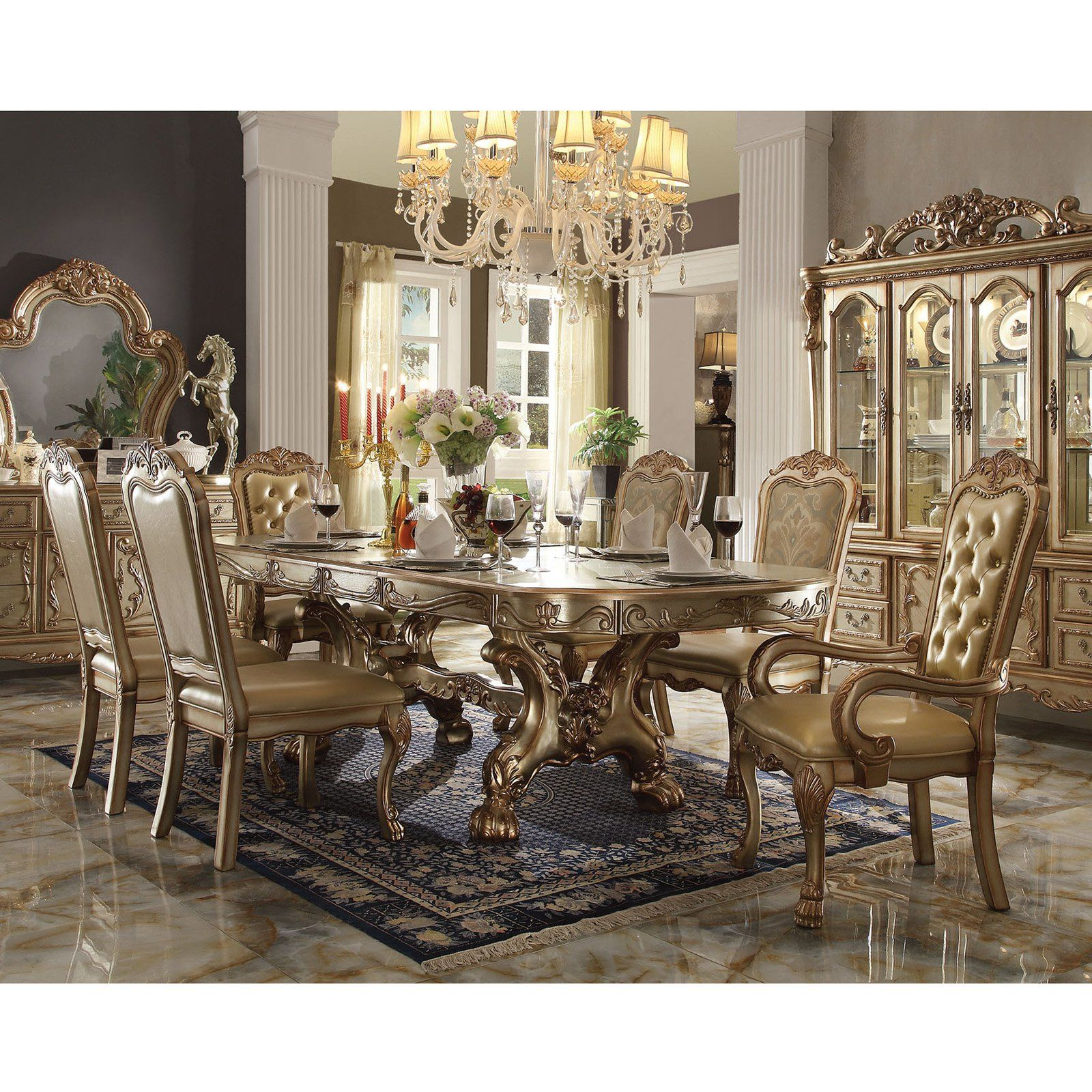 acme furniture dresden gold 7 piece trestle dining table set in 2018 rh pinterest com