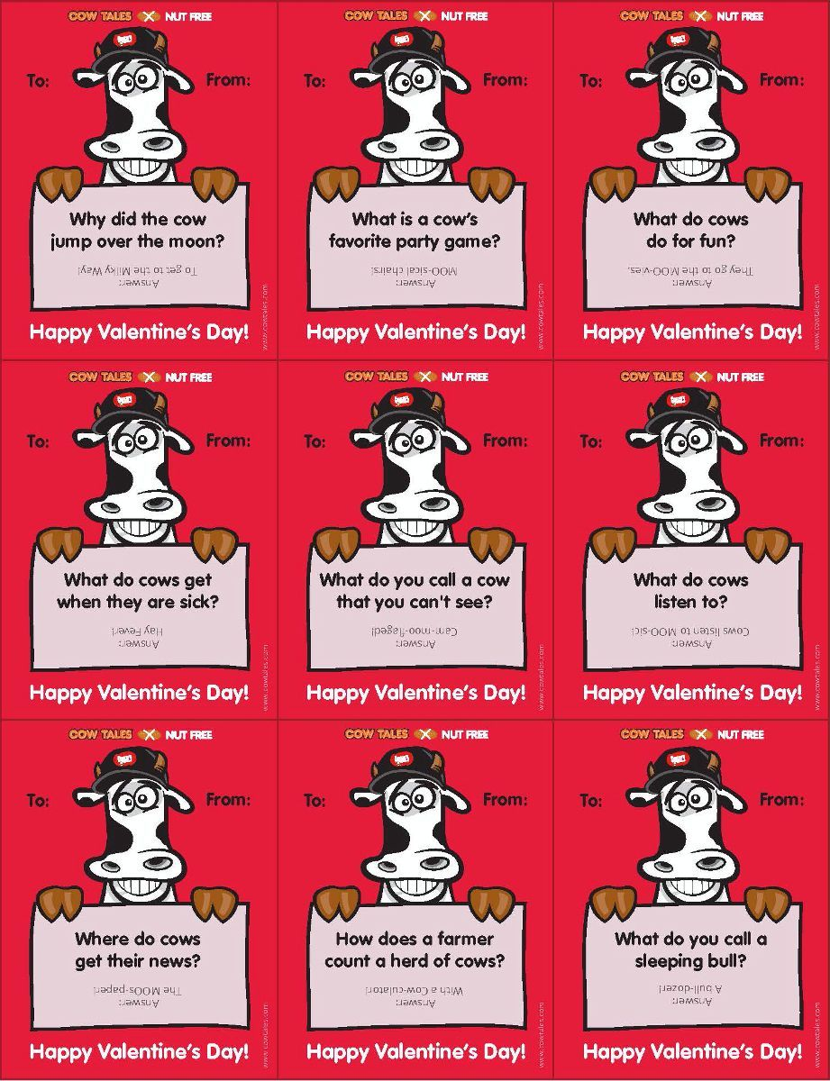 Free Valentine Printables   Punny Cows And Cow Jokes