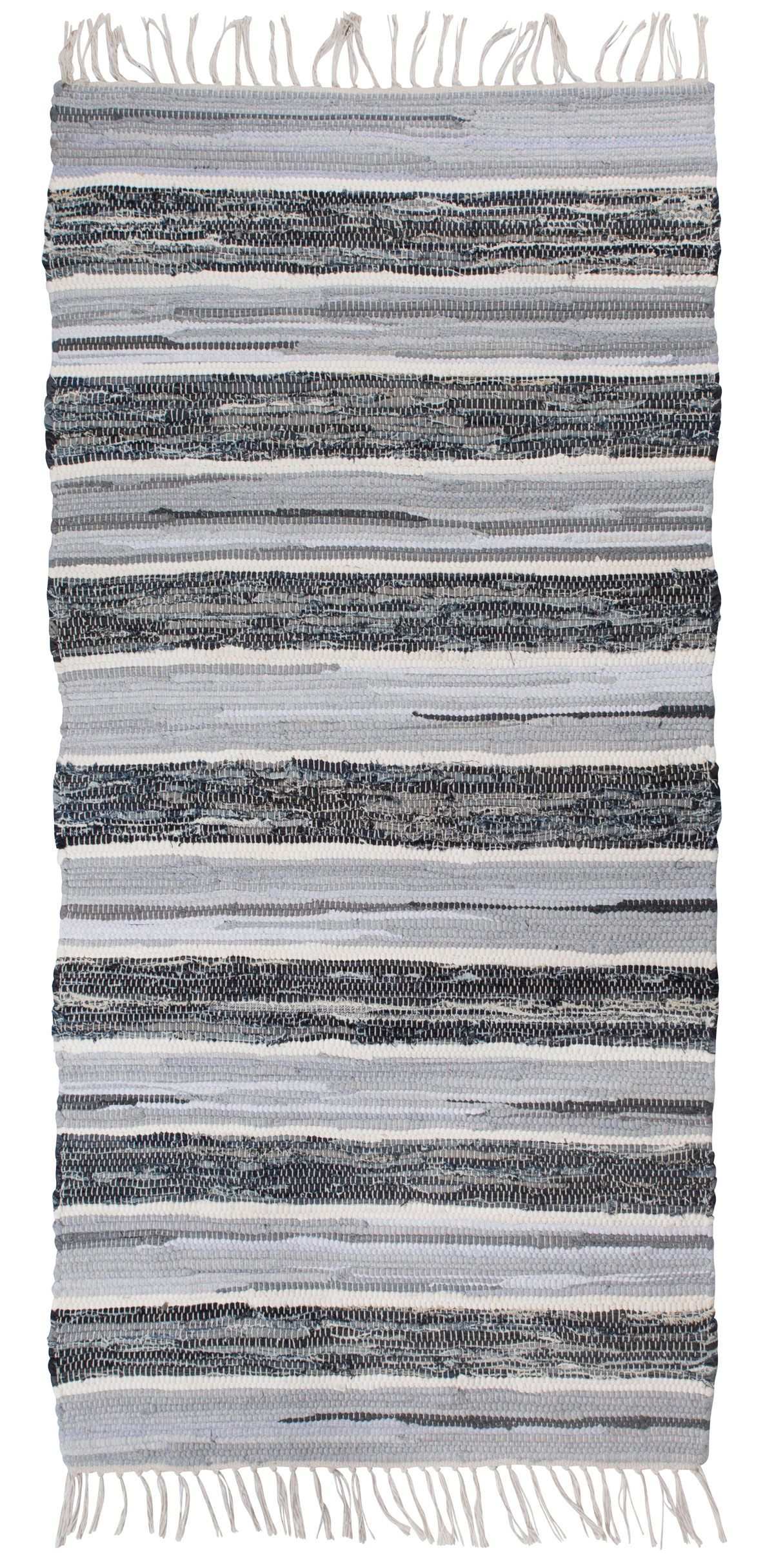 Striped Blue Grey And White Cotton