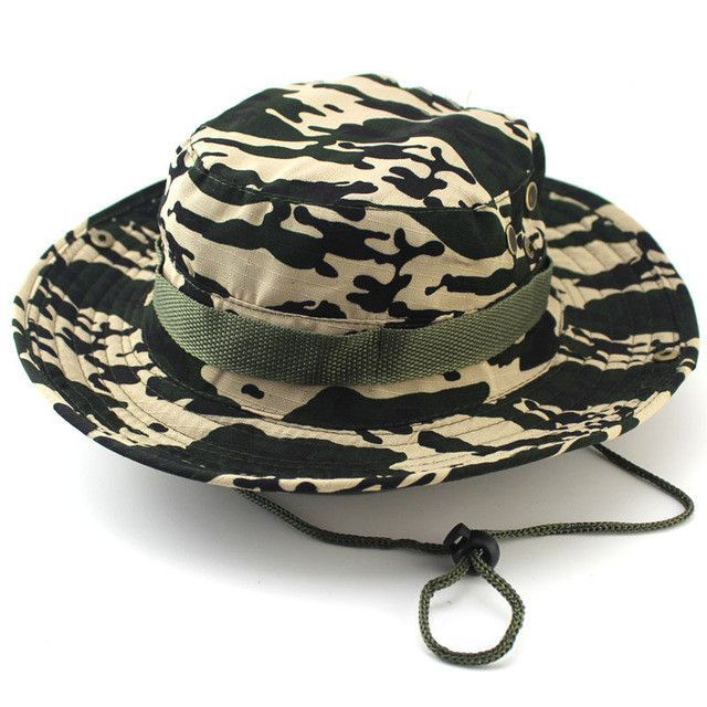 065ad232f6089 Military Camo Bucket Hat with Strings Camping Hiking Travel Sniper Wide  Brim Boonie Hat