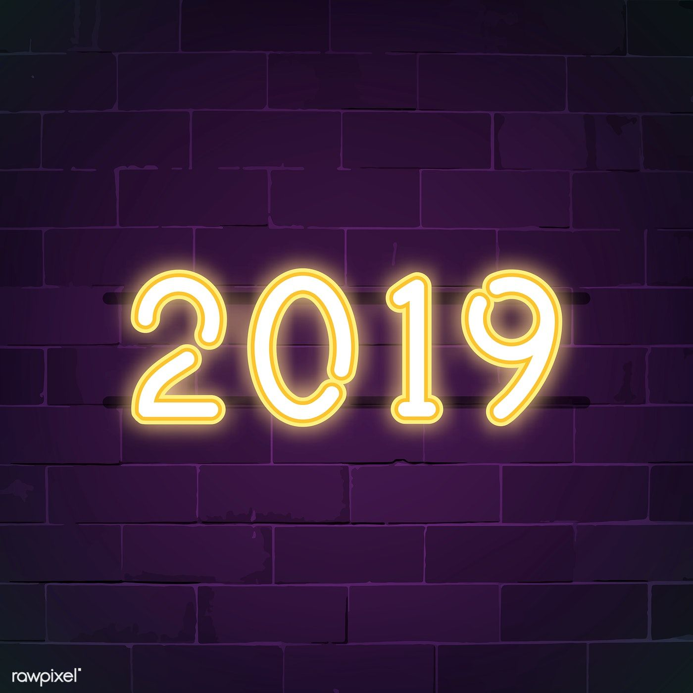 Yellow 2019 neon sign vector free image by