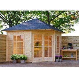 Abri de jardin d\'angle Jessica 8.25 m² - bois 21 mm - avec plancher ...