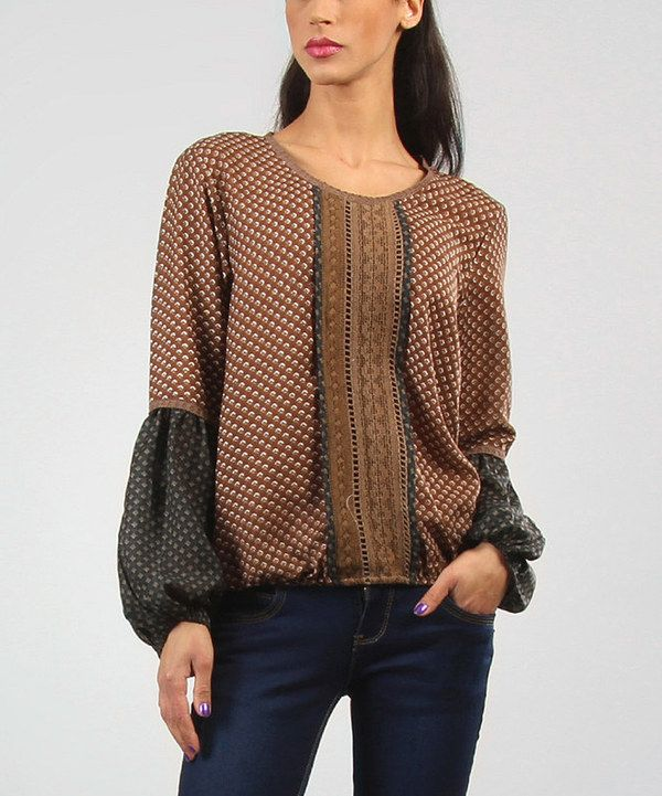 Take a look at this Brown Bohemian Top - Women on zulily today!