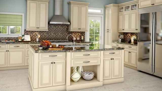 Off White Kitchen Cabinets With Antique Brown Granite | Kitchen