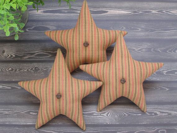 Primitive Star Bowl Fillers  Red & Green by PassionforPrim on Etsy
