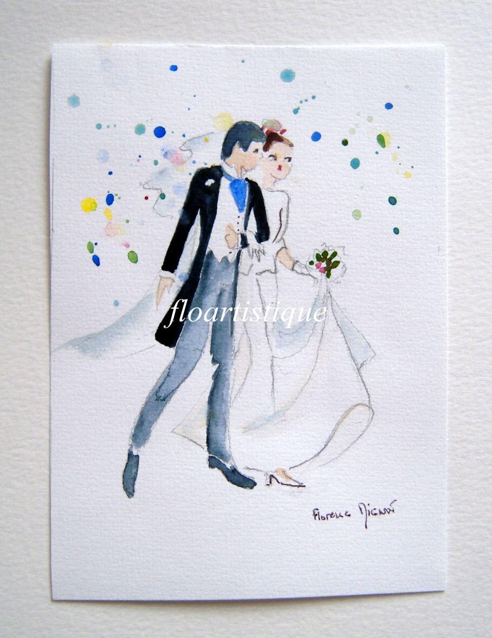 Faire-part mariage – aquarelle des mariés