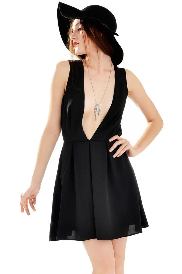 b9666e5f9f9 Sultry Plunging Neckline Backless Mini Dress - OASAP.com