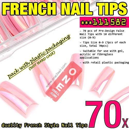 70x Pre Designed French Metallic Pink Rainbow Color Nail Tips 3 50 Nail Nailtips Manicure One2sell Nail Tips False Nail Nail Sizes