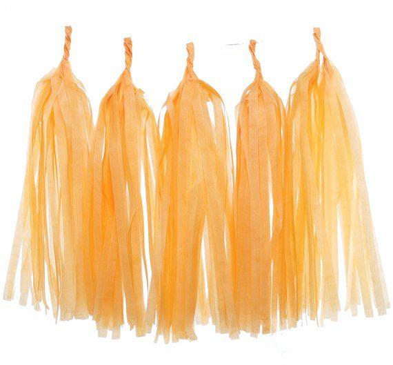 Garland Decoration, Orange Tissue Paper Tassels (Set of 5) - Streamer Backdrop, Wedding Party Banners, Orange Streamer, Birthday Supplies