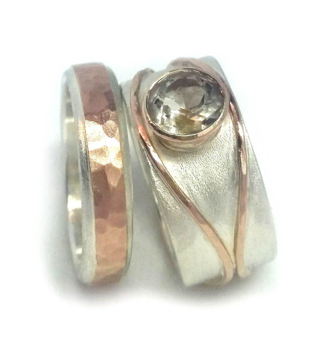 Golden Quartz Wedding Ring Set, His And Hersplementary Set, Alternative Diamond  Ring, Rose Gold Engagement Rings, Rutilated Quartz