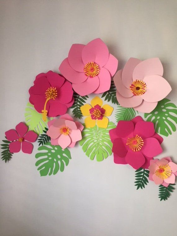 Paper Wall Flowers Wall Backdrop Moana Flowers Paper