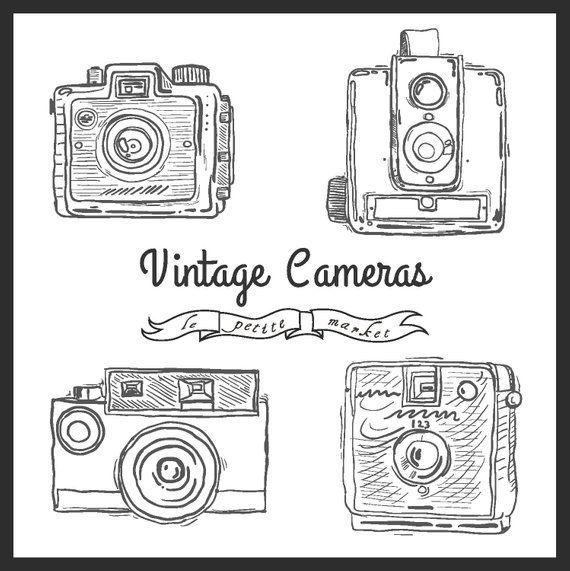 Camera hand drawn. Cute clip art vintage