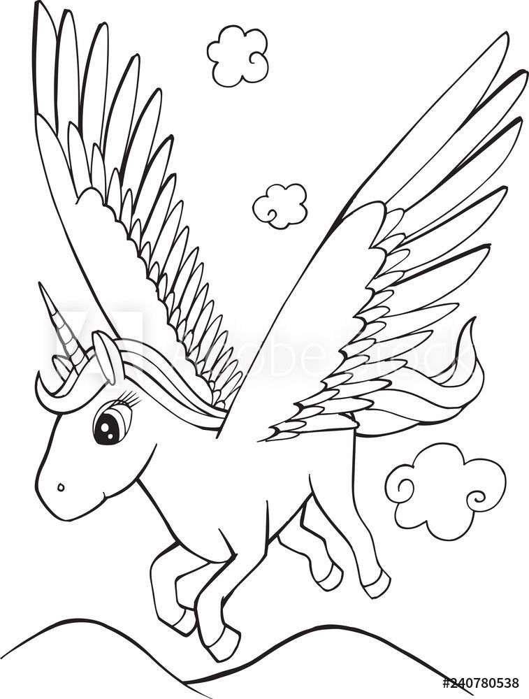 Unicorn With Wings Coloring Page Youngandtae Com In 2020 Unicorn Coloring Pages Unicorn Wings Mermaid Coloring Pages