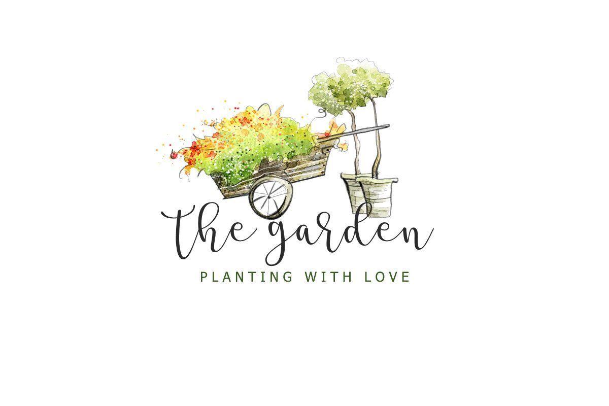 Diy Logo Garden Logo Wheel Barrow Logo Wheelbarrow Design Etsy Logo Garden Plant Logos Potted Trees
