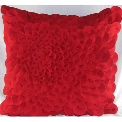 Design Accents Felt Puffy Dahlia Pillow in Red - SL 31900-Red