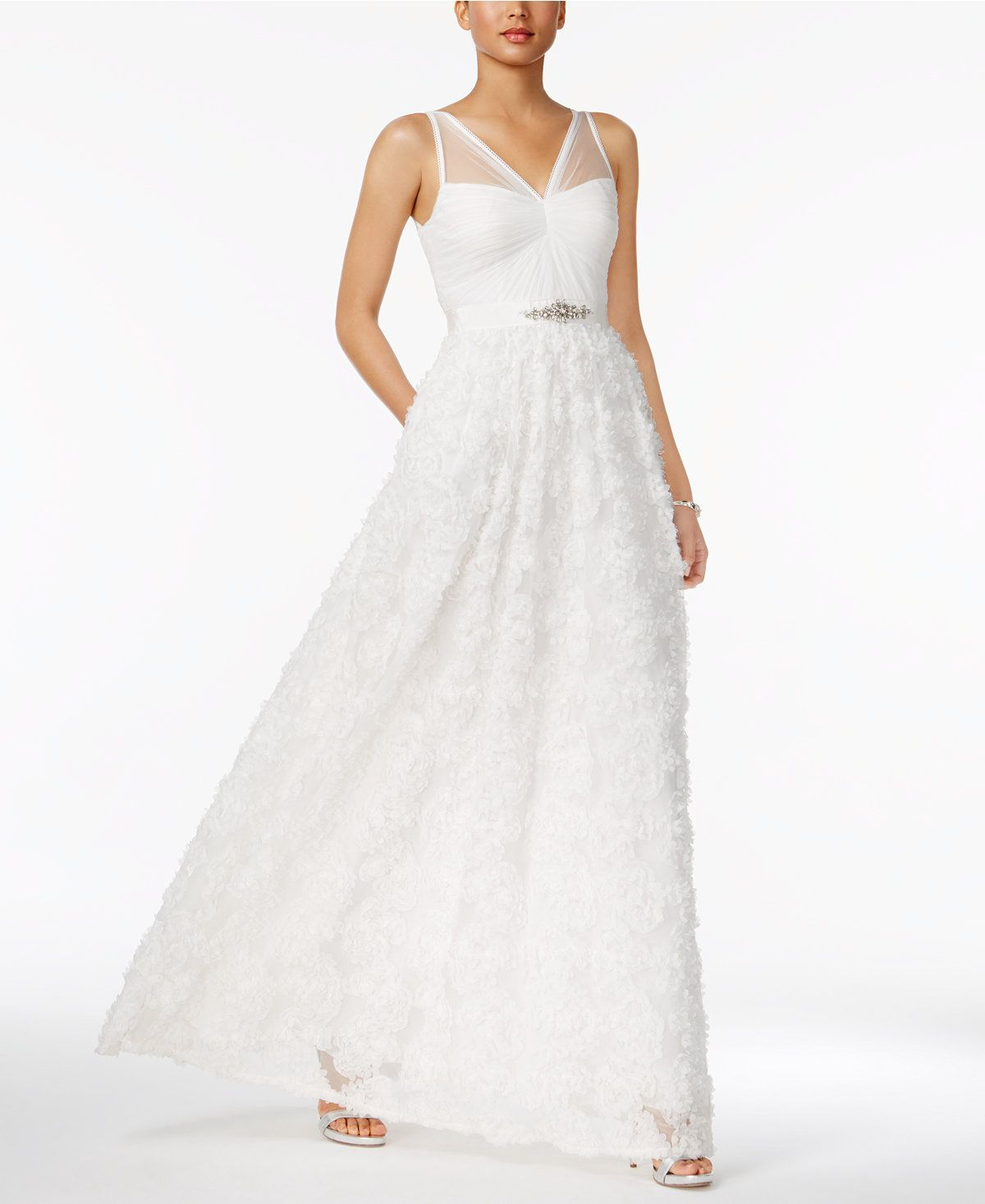 Adrianna papell embellished floralapplique illusion gown