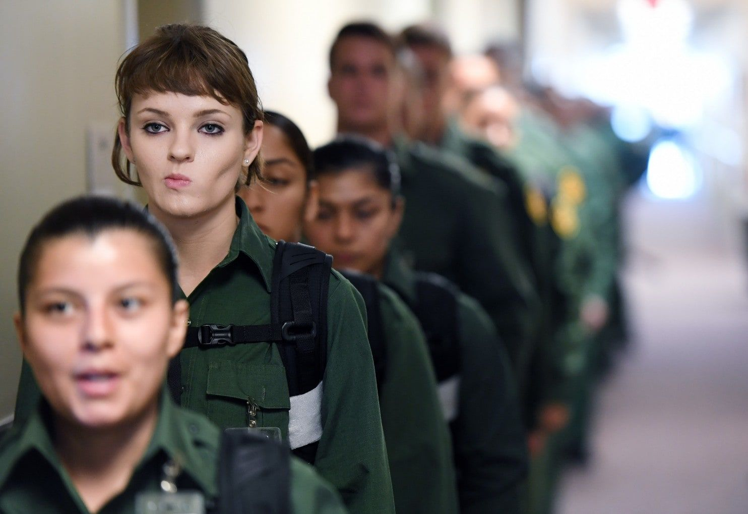 Border Patrol trainees prepare to enter one of the country