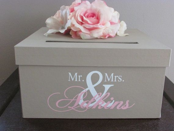 Tan Wedding Card Box Ivory And Pink Holder 12 Inch Gift With Mr Mrs Custom Name