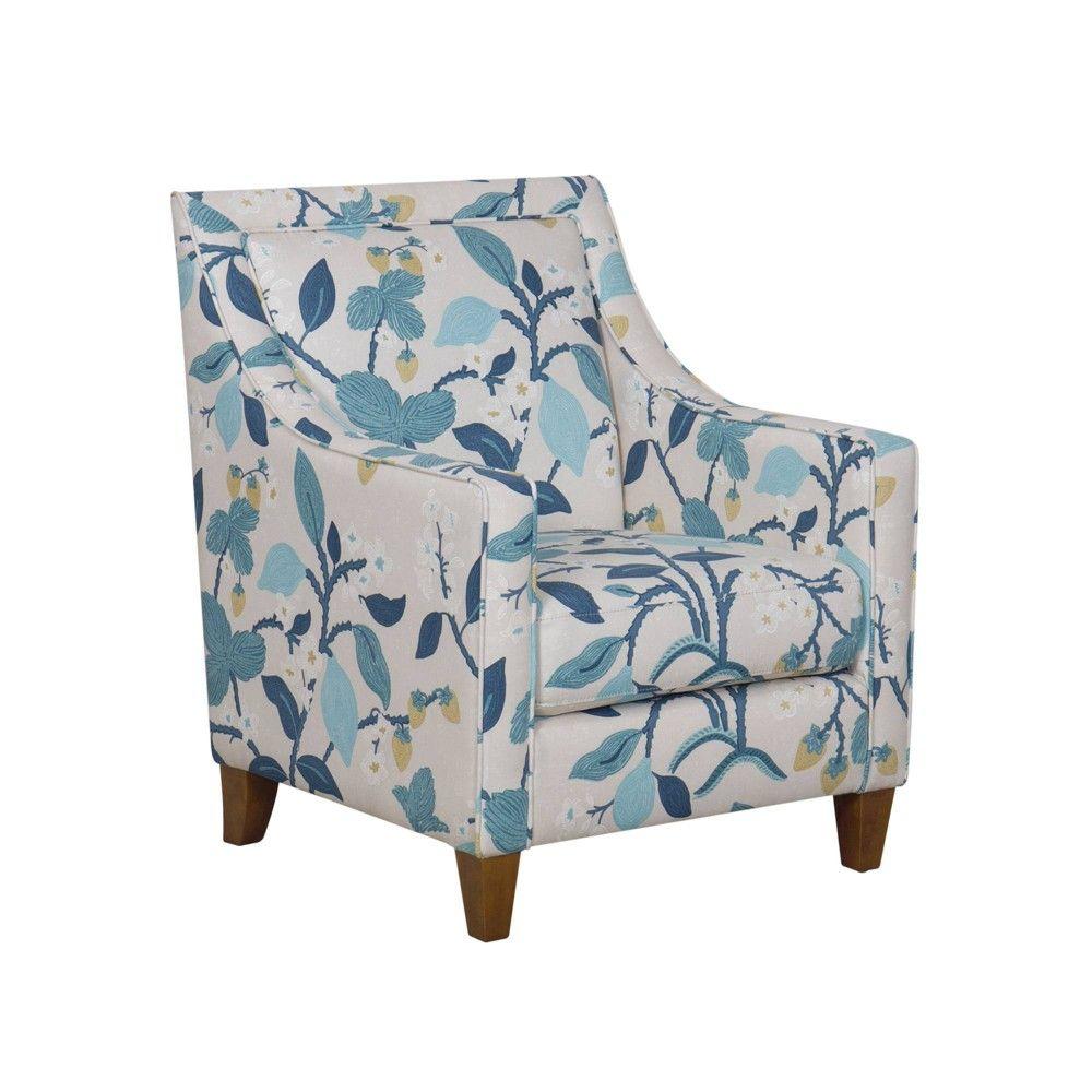 Best Edwin Accent Chair Modern Floral Blue Homepop *D*Lt 640 x 480