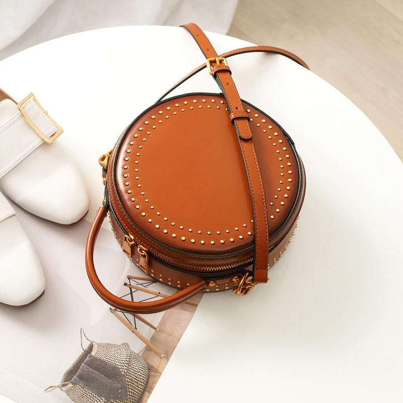 5cf163c83 Leather Brown Circle Bag Circle Purse Round Purse Round Bag Crossbody – Annie  Jewel