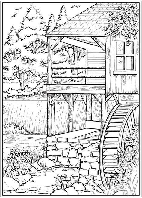 Welcome To Dover Publications Dibujos Para Colorear Paisajes