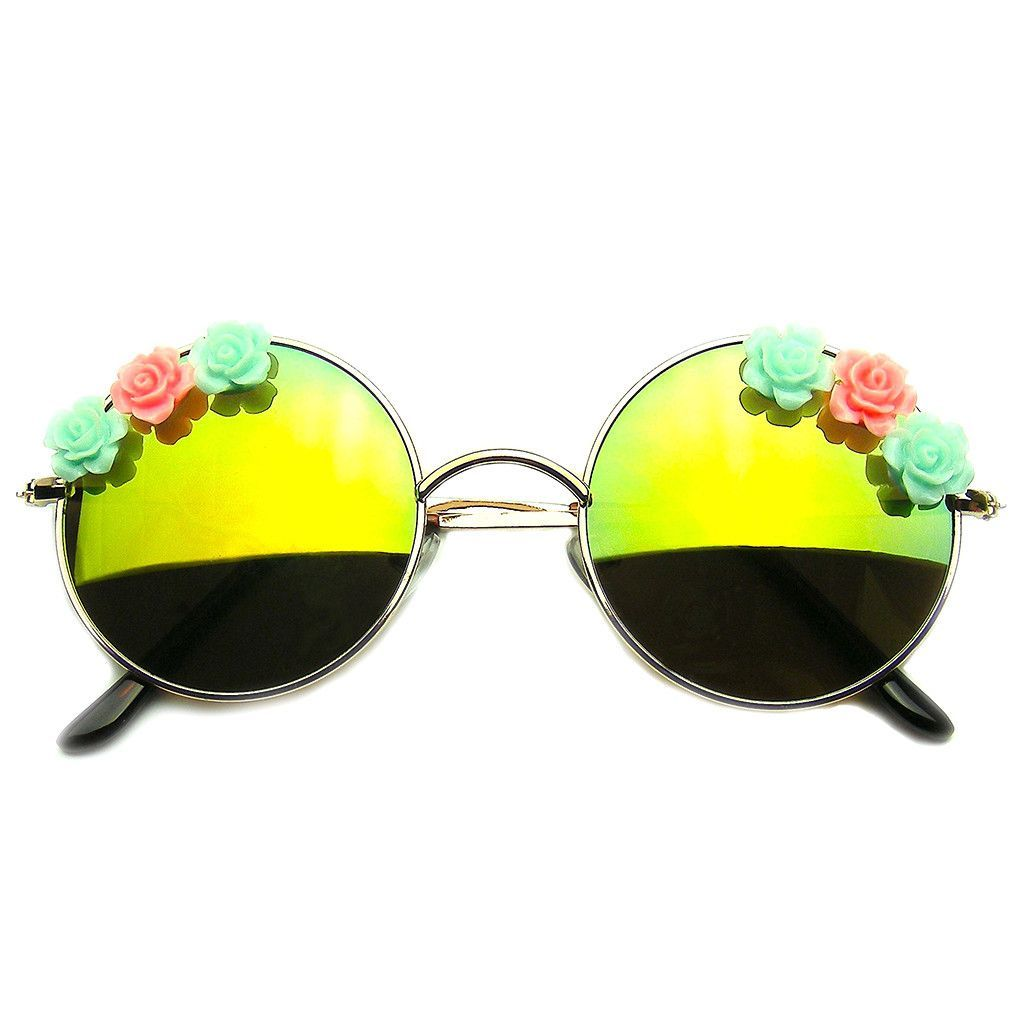 colored sunglasses u82y  Flash Floral Retro John Lennon Inspired Sunglasses Round Hippie Shades  Colored Lenses http://