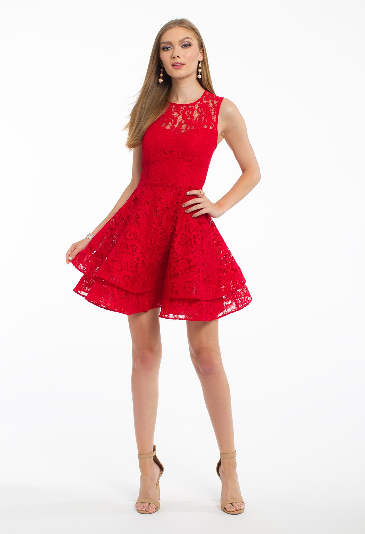 Lace tiered keyhole back short dress wear red pinterest