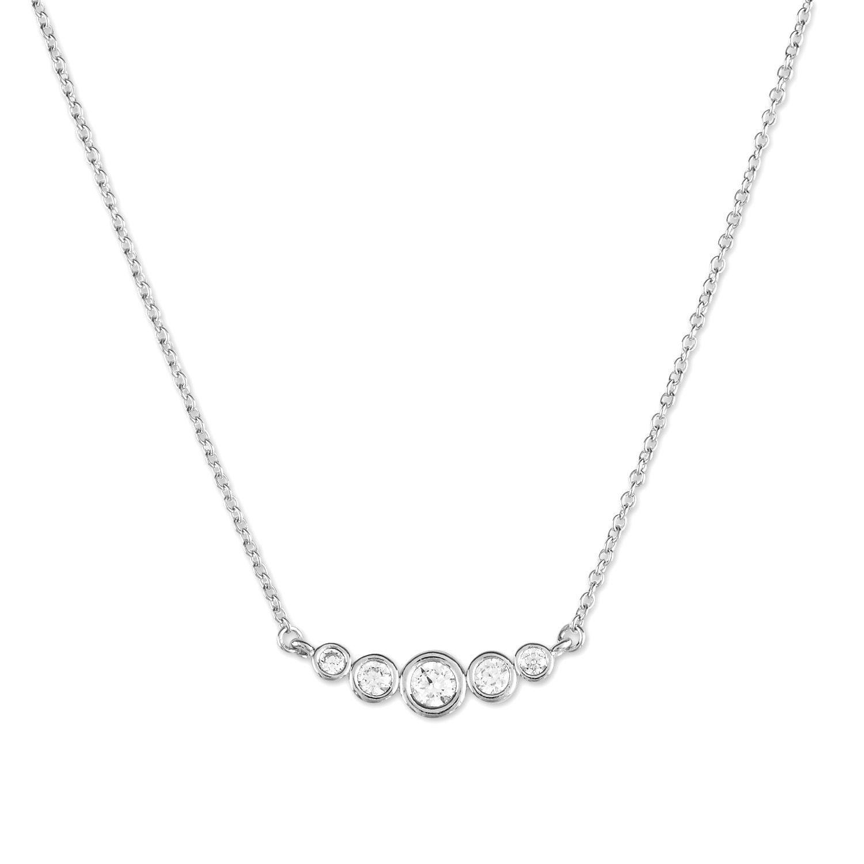 La Preciosa Sterling Silver Bezel-set Cubic Zirconia Circles Curved Bar Necklace, Women's