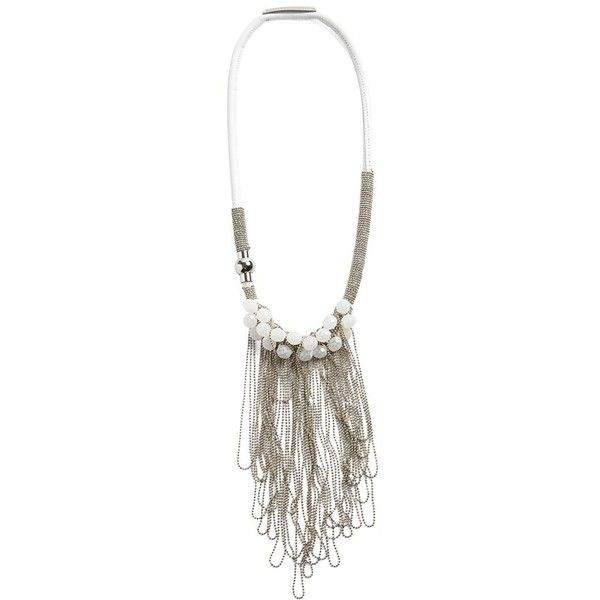 Fabiana Filippi 'Giada' Chain Fringe & Stone Leather Necklace (€315) ❤ liked on Polyvore featuring jewelry, necklaces, white, leather cord necklace, leather fringe necklace, fringe necklace, leather chain necklace and ball chain necklace
