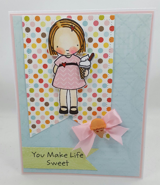 Icecream Summertime Girl Blank Notecard Greetings Card Handmade