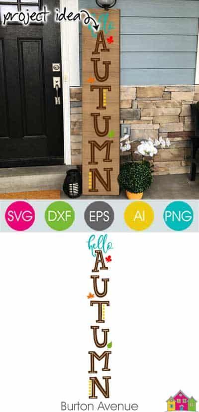 Hello Autumn Vertical - Limited Time Free SVG File - Burton Avenue #helloautumn