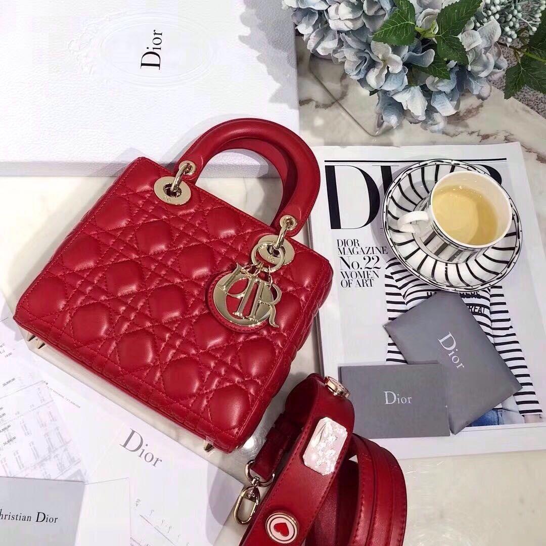 f2d7ad9aef82 christian dior lady dior bag red mini