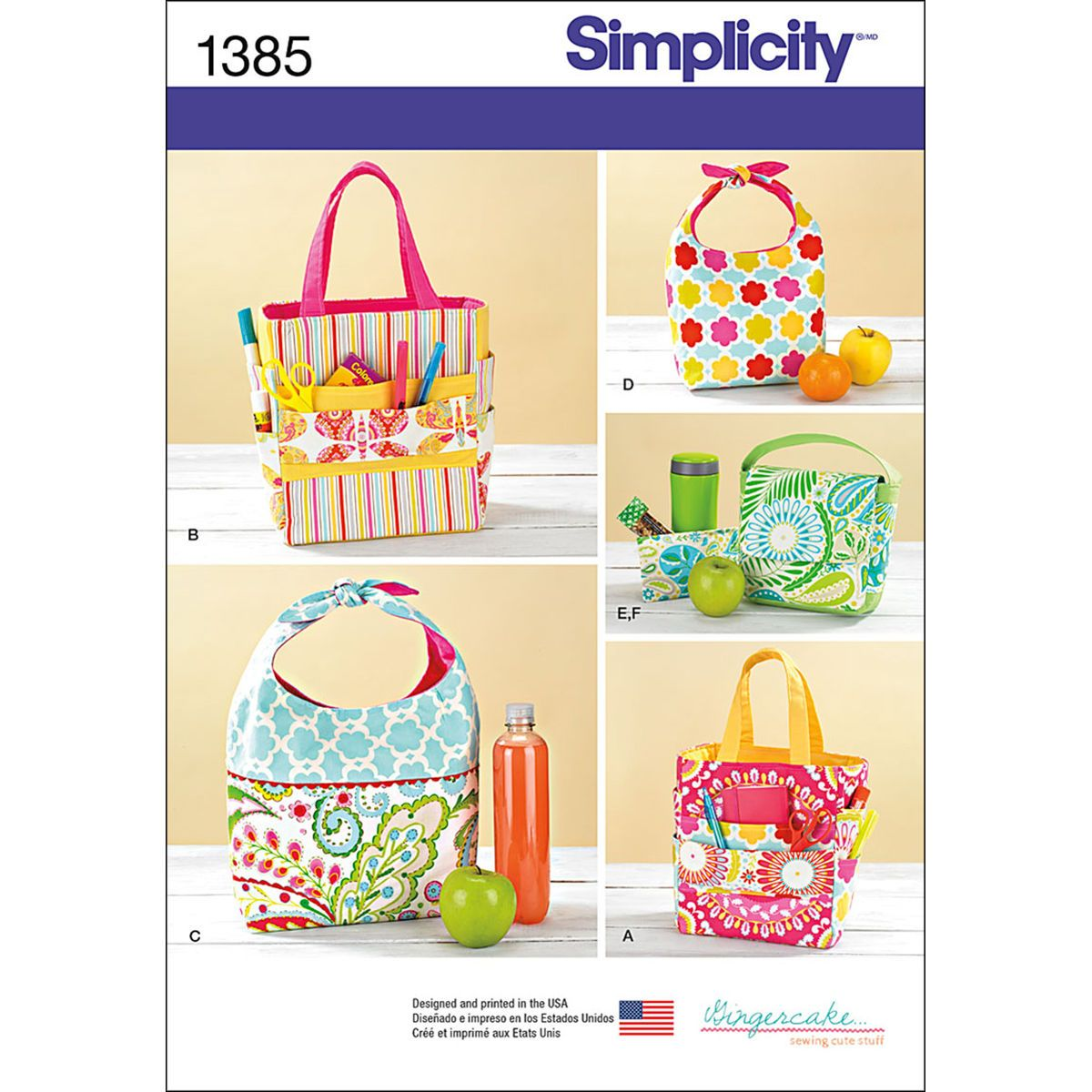 Butterick 5338 Pattern Reuseable Insulated Tote Shopping Bags Lunch Sack Pattern